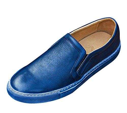 Insun Heren Rundleder Slip Op Loafers Blauw