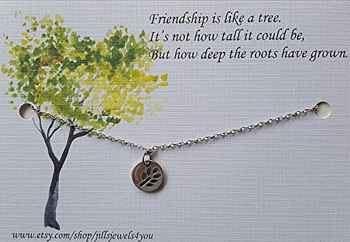 - Best Friend Necklace - Friendship Necklace -Long Distance Friendship -Best Friend Gift - Friends Forever - Quote Gift - Leaf Necklace - BFF