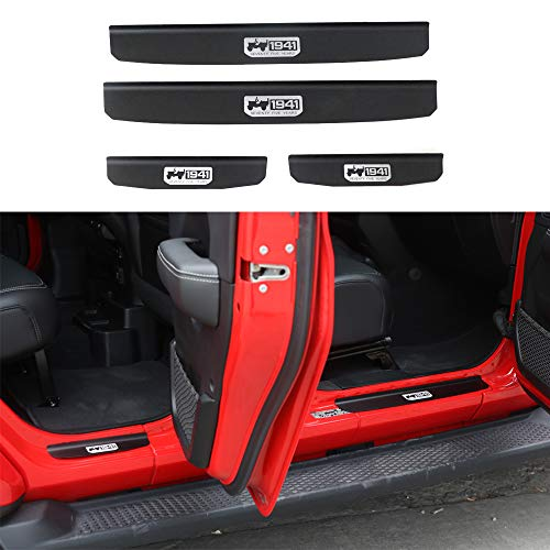 Micephon Jeep Wrangler Aluminium Alloy Door Sill Guards Door Sill Plate Protector with Jeep 1941 Loge for 2018 JL 4 Doors, Pack of 4