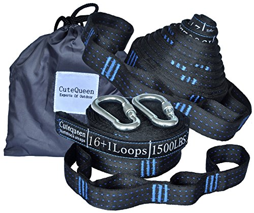 Cutequeen 2pcs 34 Loops 20Ft Long Hammock Tree Straps 3000+ LBS Versatile Heavy Duty & 100% No Stretch Suspension System Kit for Camping Hammock Includes Carry Bag (Pack of 2)