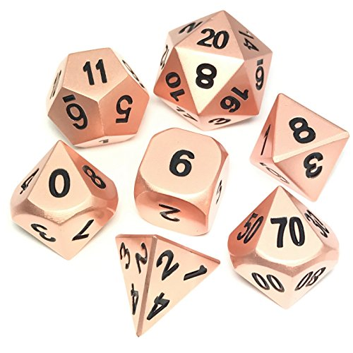 - IvyFieldDice Rose Gold Metal and Black Number- Metal Polyhedral RPG Dice Set of 7 Dice