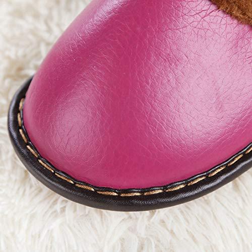 Antidérapant Cuir Bureau En Rose Pantoufles Chaussures Semelle Filles Femmes Hommes Maison Extérieur Hiver Jiyaru Garçon Printemps Caoutchouc Pour Automne Rouge Chaud Intérieur Chausson xR4PwnY8