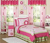 Sweet Jojo Designs 3-Piece Pink and Green Flower Collection Children and Kids Full / Queen Girls Bedding Set