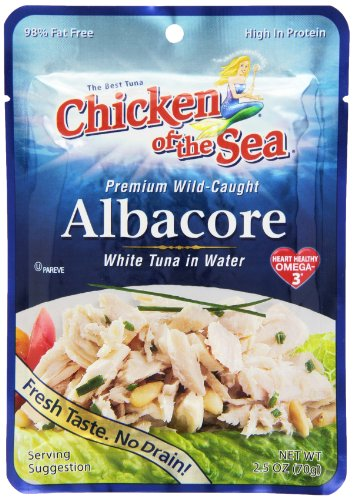 Chicken of the Sea Premium Albacore Tuna in Water, 2.5 Ounce Pouch (Pack of 12) - Sea Albacore