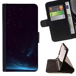 For Samsung Galaxy S5 Mini (Not S5), SM-G800 Case , Sky Aurora Borealis Azul Night Lights- la tarjeta de Crédito Slots PU Funda de cuero Monedero caso cubierta de piel