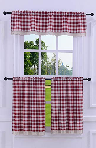 3 Pieces Kitchen Curtain Tier and Valance Set Checkered Cotton Blend Wine/Burgundy