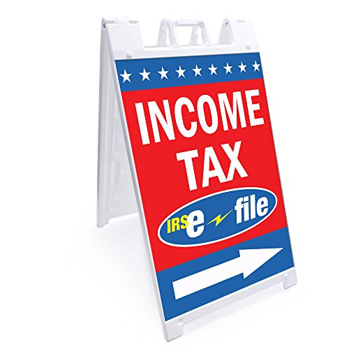 """A-Frame Income Tax E-File with Arrow Sign with Graphics On Each Side 