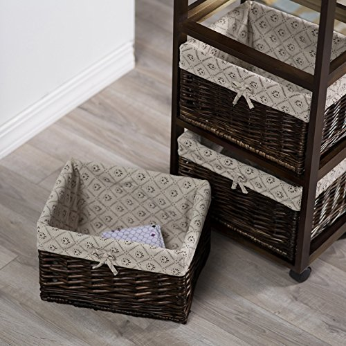 Dark Brown Espresso Mobile Ironing Board Station Cart With Storage Baskets by Home Improvements (Image #3)