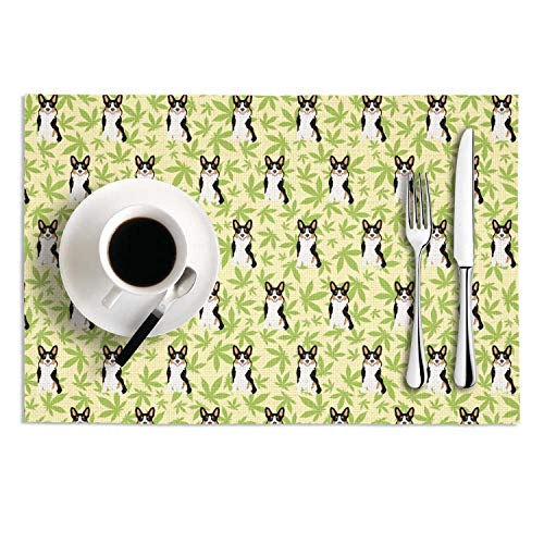 Quinnteens Washable Table Mats Cannabis leaf dog green Non-Slip Insulation Placemat (2pcs placemats,12x18 inch)