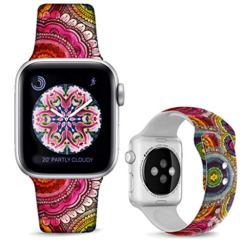 (DOO UC Floral Bands Compatible with iWatch 42mm/44mm,Mandala Circle Silicone Fadeless Pattern Printed Replacement Bands for A pple Watch Series 4/3/2/1, M/L for Women/Men )
