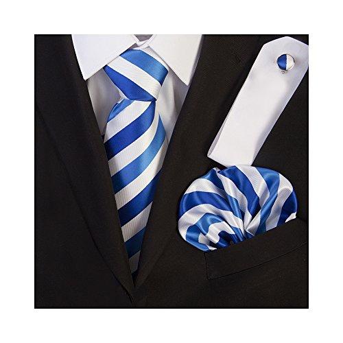 amp; Hanky Striped Set TNS Royal Ties Blue Cufflinks White zxEqHB