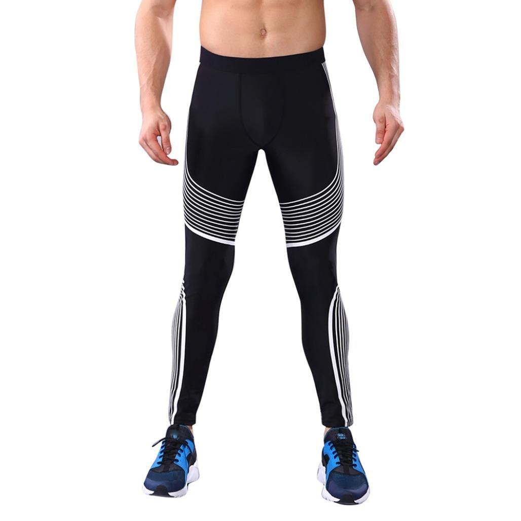 WM&MW Fashion Men Workout Leggings Striped Fitness Sports Running Athletic Pants Gym Trousers (L (Asia:XL), White) by WM & MW