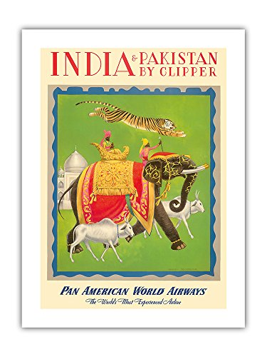 India and Pakistan by Clipper - Pan American World Airways PAN AM - Vintage Airline Travel Poster by Charles Baskerville c.1949 - Premium 290gsm Giclée Art Print - 18in x 24in