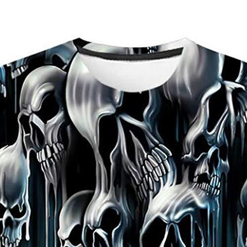 Fit Manches Imprimé Graphique Blouse Courtes Top shirt Amlaiworld Skull Rond Slim Col Fun Noir 3d Tees T Hommes Original OvxgxXwfq