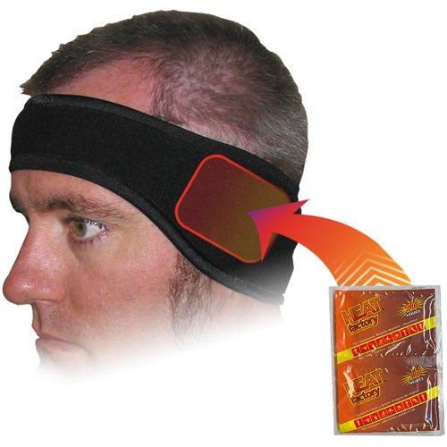 Heat Factory Fleece Ear Headband with Hand Heat Warmer Pockets, Black - Heated Ear Muffs