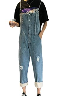 XQS Womens Classic Denim Bib Strap Pockets Overalls