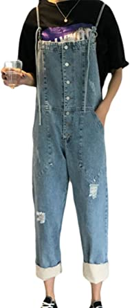 ouxiuli Women Bib Overall Denim Jeans Romper Jumpsuits with Pockets