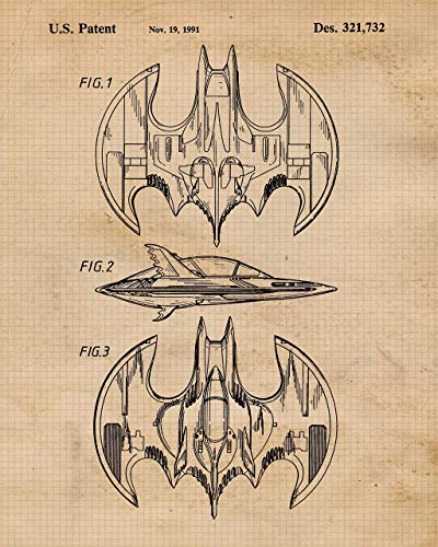 Vintage Batmobile Patent Poster Prints, Set of 4 (8x10) Unframed Photos, Wall Art Decor Gifts Under 20 for Home, Office, Garage, Man Cave, College Student, Teacher, Comic-Con & Batman Movies Fan