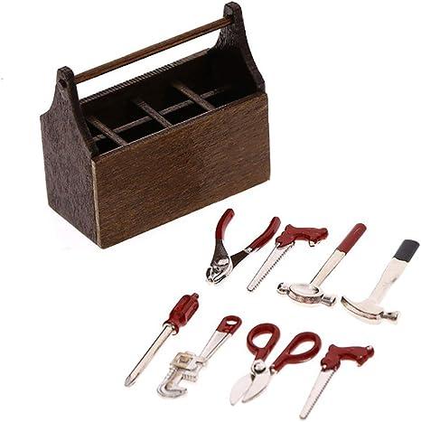 MagiDeal 1:12 Miniatur Metall Reparieren Werkzeuge Kit Puppenhaus Zubehör