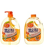 Mama Lemon Dishwashing Liquid, Anti-bacterial Citrus, 1L Banded with 1L Refill