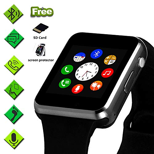 Smart Watch for Android Phone,Touchscreen SmartWatch with Call Text Sync SD&SIM Card Slot Camera Compatible with iPhone/Samsung/Huawei,Recording Music Player Sleep Monitor Pedometer Sedentary Wat