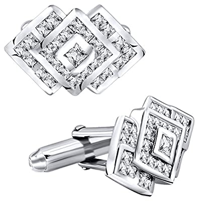 Men's Sterling Silver .925 Cufflinks with Cubic Zirconia CZ Stones, 22 mm by 14 mm. By Sterling Manufacturers