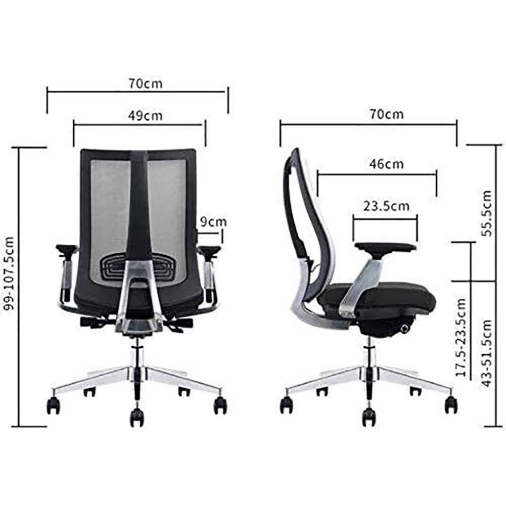 Kontorsstol skrivbordsstol kontorsstol hög rygg nätstol justerbar nätstol för dator/kontor uppgift stol med certifiering (färg: svart) Svart