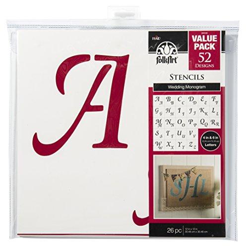 - FolkArt Die Cut Paper Stencils, 38959E Wedding Monogram (26-Pack)