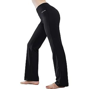 b7247e40cedfe HISKYWIN Inner Pocket Yoga Pants 4 Way Stretch Tummy Control Workout  Running Pants, Long Bootleg