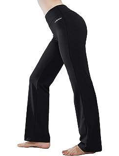 df1ef59e31 HISKYWIN Inner Pocket Yoga Pants 4 Way Stretch Tummy Control Workout  Running Pants, Long Bootleg