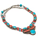 Tibetain Turquoise, Red Coral Handmade Ethnic Style Jewelry Necklace 18 Inch