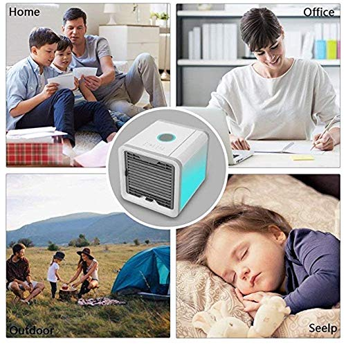 Humidifier /& Purifier 3 in 1 Desktop Air Cooler Fan with 7 Colors LED Night Light CHAKWAN Portable Personal Space Air Cooler