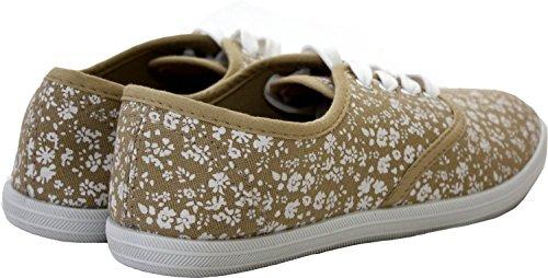 Annabelle Zapatos con Zapatillas Mujer Chica Bajas Cordones Beige Plimsolls Zapatillas rFq0r