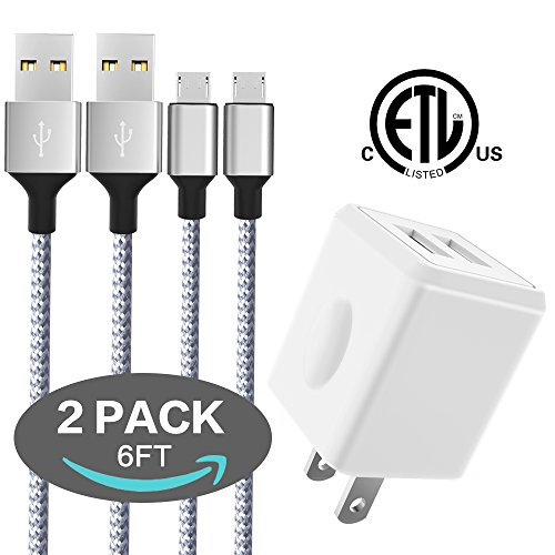 Wall Charger, Canyso Dual Port USB Wall Charger Universal Power Adapter for iPhone iPad, Samsung Galaxy, LG, HTC, Moto, Kindle, MP3, Bluetooth Speaker Headset and More (Charger with 2 Micro USB Cable)