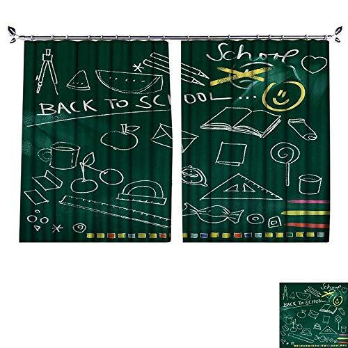 DESPKON The Shade Block Ultraviolet Green Chalkboard Background Back to School Doodles for Bedroom, Living Room, for Shade. W84 x L96 ()