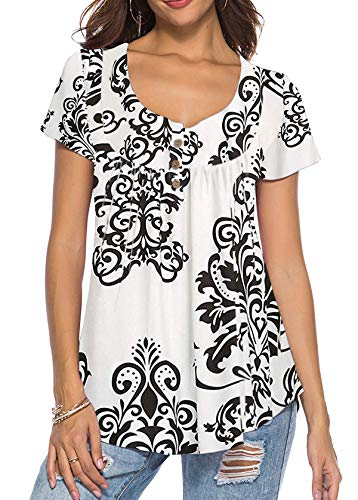 Mystry Zone Women Floral Print V Neck Button Decor Peasant Summer Swing Tunic Tops Shirts White XL