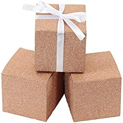 Andaz Press Real Glitter Gift Favor Boxes Rose Gold in Bulk 50-Pack Count, 3 x 3-Inch Party Favor Gift Boxes for Wedding Favors, Birthday, Baby Shower, Graduation, Baptism
