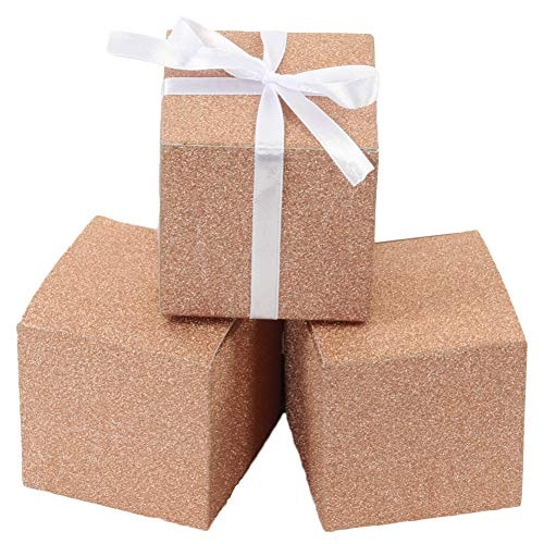 Andaz Press Real Glitter Gift Favor Boxes Rose Gold in Bulk 50-Pack Count, 3 x 3-Inch Party Favor Gift Boxes for Wedding Favors, Birthday, Baby Shower, Graduation, Baptism]()