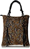 'ale by alessandra Women's Bambou Embroidered Tote With Genuine Leather Accents, Earth Tones, One Size