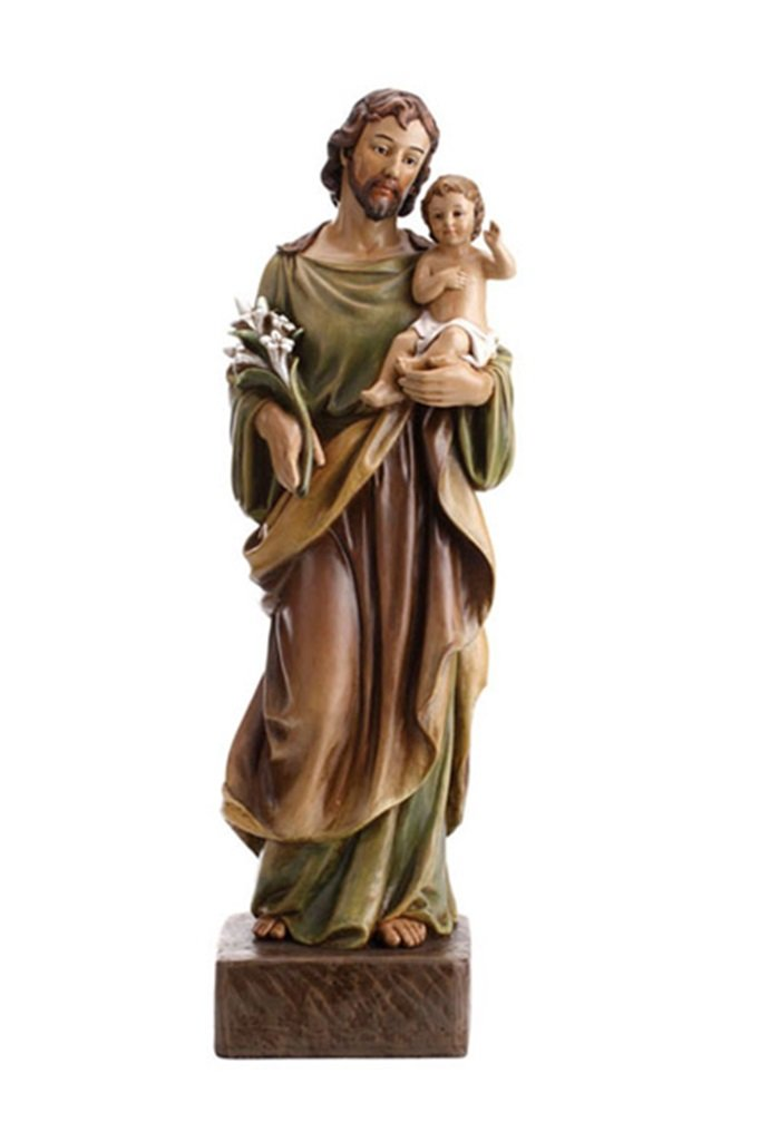 Patron Saint Joseph with Christ Child Resin Statue, 24 Inch