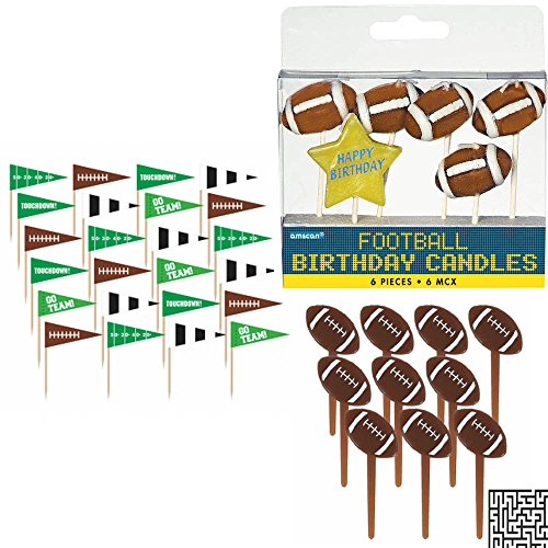 Football Birthday 6 piece Toothpick Candle Set, 36 ct. Flag Picks, and 36 ct. Football Molded Picks Party Bundle - Includes 1 Maze Game Activity Card by ClassicVariety