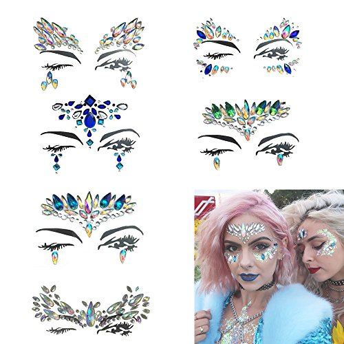 Mermaid Face Gems Jewels Crystal, Body Sticker Rhinestone Temporary Tattoos for Concert Rave Festival etc 6 PCS by Topway Gift