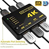 AOOBOX Intelligent 5-Port HDMI Switch, Supports 4K, Full HD1080p, 3D with IR Remote (Black- 5Port) (Black)