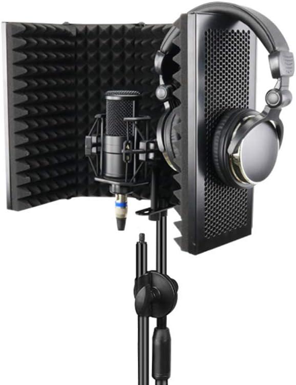 Konesky Escudo de Aislamiento de Micrófono, Reflector de Espuma Absorbente de Sonido Studio Mic Espuma Acústica EVA de Grado de Estudio (5 Puerta)