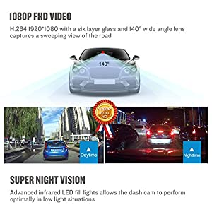 Dash Cam Driving Recorder, Delabest Full HD 1080P Mini Car Camcorder with Wide Angle Lens, Loop Recording, G-Sensor, Motion Detection and Night Vision