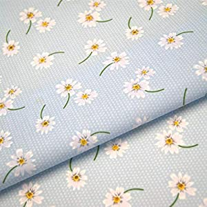 "Polycotton Gerbera Daisy Fabric x 112cm 44/"" Red  Blue or Yellow"
