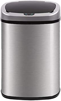 Kitchen Trash Can for Bathroom Bedroom Home Office Automatic Touch Free  High-Capacity Garbage Can with Lid Brushed Stainless Steel Waste Bin 13  Gallon ...