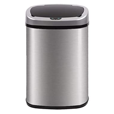 Kitchen Trash can for Bathroom Bedroom Home Office Automatic Touch Free Garbage can with lid Brushed Stainless Steel 13 Gallon / 50L