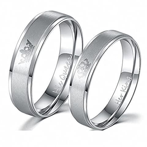 Kalapure King and Queen Stainless Steel Ring Set Silver - His and Hers Couple Wedding Band Set Anniversary Engagement Promise Ring (Women (His And Her Rings Tungsten)