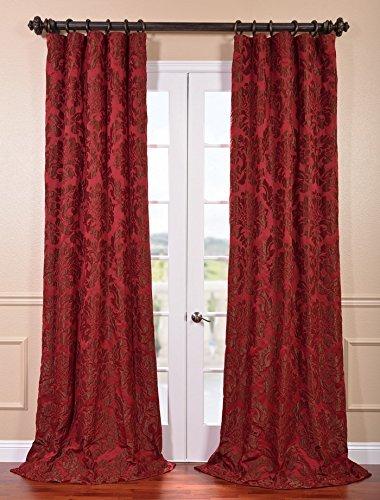 HPD Half Price Drapes JQCH-201268-96 Astoria Faux Silk Jacquard Curtain, 50 X 96, Red/Bronze from HPD Half Price Drapes